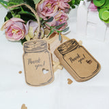"100PCS Vintage Mason Jar Shaped Tags,2.9"" X 1.7"" Thank You Tags with 100 Feet Natural Jute Twine for DIY and Craft, Canning Jars and Party Favors - G2plus"