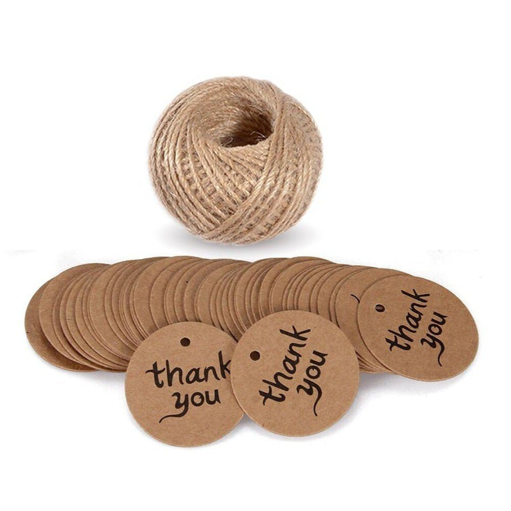 Thank You Tags with String, G2PLUS 100 PCS Kraft Paper Gift Tags, Brown Christmas tags, Party Favor Hang Tags with 100 Feet Natural Jute Twine for Craft Projects - G2plus