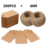 200PCS 7cm X 4cm Kraft Paper Gift Tags with 60M Jute String for Arts and Crafts, Wedding Christmas Day Thanksgiving - G2plus