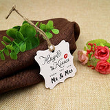 Original Design Wedding Favor Gift Tags, 100 PCS White Square Tags with 100 Feet Natural Jute Twine Perfect for Bridal Baby Shower Anniversary- Hug & Kisses from the New Mr & Mrs - G2plus