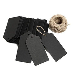 100 PCS Black Paper Christmas Gift Tags with String, Thank You Gift Tags, Bonbonniere Favor Tag with 30 Meters Jute Twine for Crafts & Price Tags Labels (Black) - G2plus