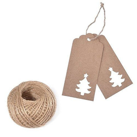 100 PCS Kraft Paper Hollow Christmas Tree Gift Tags with String, Brown Favor Hang Tags, Vintage Tags with 100 Feet Natural Jute Twine for Craft Projects, Bonbonniere, Xmas Gifts (Brown) - G2plus