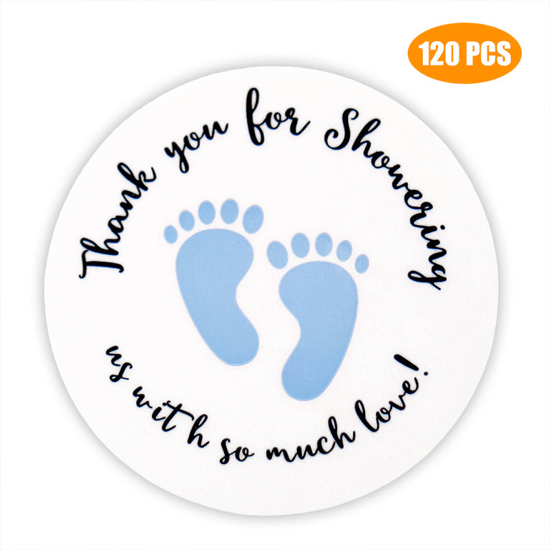 Original Design 120PCS Baby Shower Stickers,Thanks for Showering us,1.5inch Girl Boy & Gender Neutral Round Shower Stickers - G2plus
