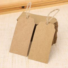 100 PCS Kraft Paper Christmas Gift Tags with String Wedding Brown Rectangle Craft Hang Tags Bonbonniere Favor Gift Tags with Jute Twine 30 Meters Long for Crafts, Price Tags Labels - G2plus