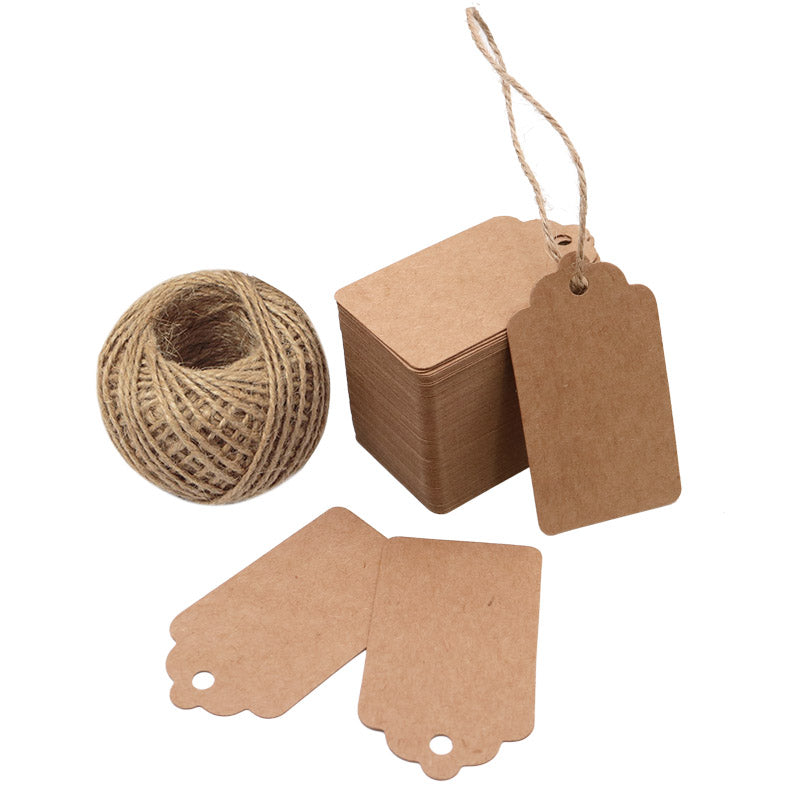 100 PCS Wedding Gift Paper Tags, 7CM * 4CM Brown Kraft Tags Crafts Hang Labels with Jute Twine 30 Meters Long for Christmas Decorations - G2plus