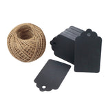 100 PCS Wedding Gift Paper Tags, 7CM * 4CM Black Card Tags Crafts Hang Labels with Jute Twine 30 Meters Long for Christmas Decorations - G2plus