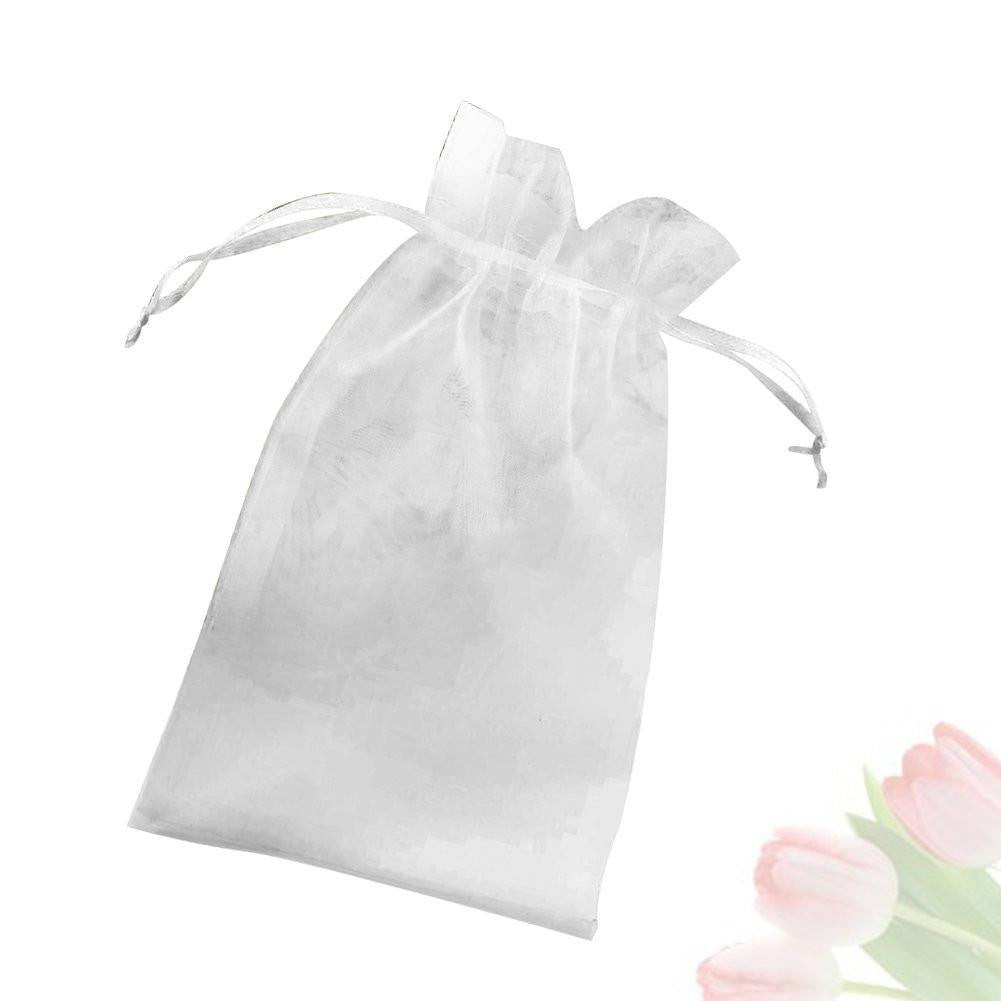 "Organza Bags, G2PLUS 100 PCS 10X15CM (4X6"") Drawstring Organza Jewelry Pouches Wedding Party Festival Favor Gift Bags Candy Bags (White) - G2plus"