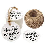 "100 PCS""Hand Made"" Small Label, 5 cm * 5 cm Kraft Gift Tags, Hang Round Tags with 30 Meters Jute Twine (White) - G2plus"