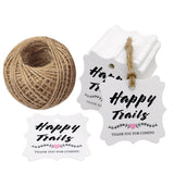 Original Design Wedding Tags, Happy Trails 100 PCS White Square Tags with 100 Feet Natural Jute Twine Perfect for Bridal Baby Shower Anniversary - G2plus