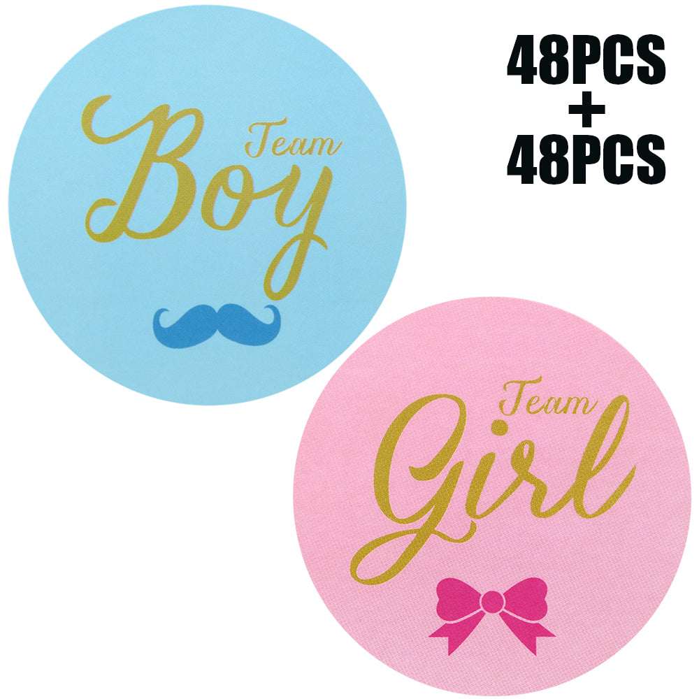 Original Design 96PCS Team boy and Team Girl Baby Shower Sticker Labels,2 Inch Gender Reveal Stickers for Baby Shower Favor - G2plus
