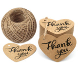 "Original Design Fathers Gift Tags,100PCS Thank You Tags 2.6"" X 2"" Kraft Paper Gift Tags with 100 Feet Natural Jute Twine Perfect for Valentine's Day,Baby Shower,Wedding Party Favor - G2plus"