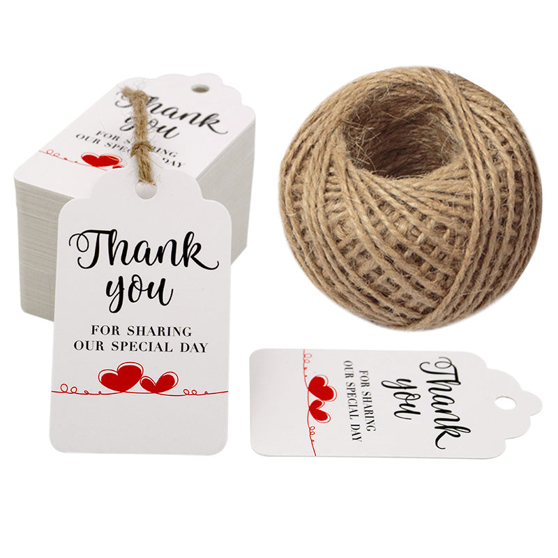 Original Design Thank You for Sharing Our Special Day - Bridal Wedding Gift Tags 100PCS Baby Shower Tags with 100 Feet Twine for DIY & Gift Wrapping (White) - G2plus