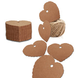 Valentine's Day Kraft Gift Tags 100 PCS Blank Label 5.5 cm * 6 cm Paper Wedding Labels Brown Hang Tag with 30 Meters Jute Twine - Heart-Shaped (Brown) - G2plus