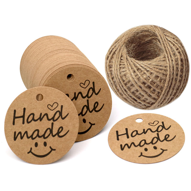"100 PCS""Hand Made"" Small Label, 5 cm * 5 cm Kraft Gift Tags, Hang Round Tags with 30 Meters Jute Twine (Brown) - G2plus"