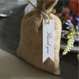 100 PCS Kraft Gift Tags Small Size 7 cm * 2 cm Blank Label Paper Wedding Labels Birthday Luggage Tags Brown Hang Tag with 30 Meters Jute Twine (Thank You -White) - G2plus