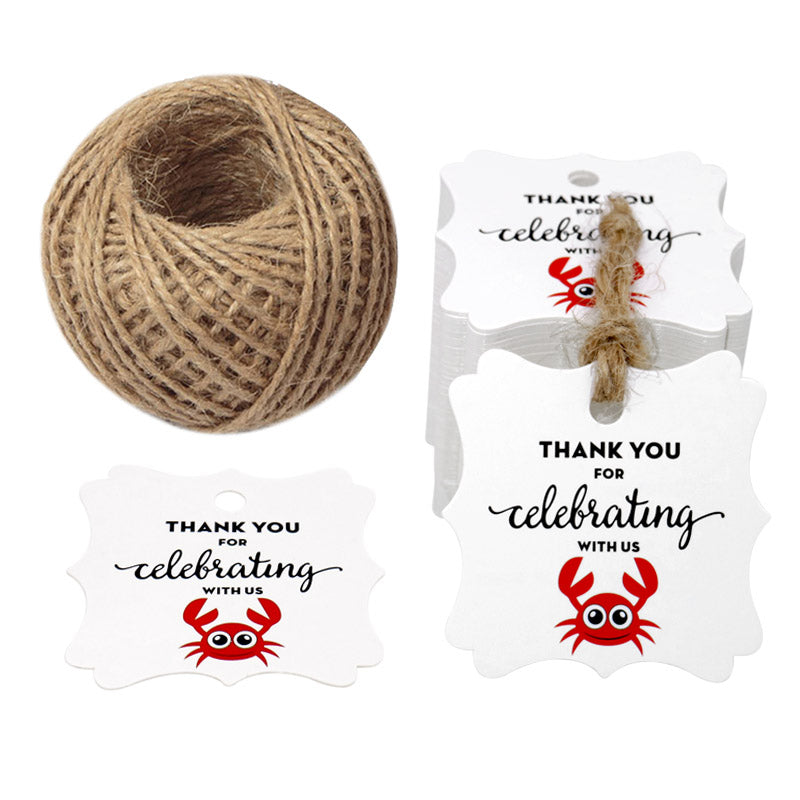 G2PLUS Original Design 100PCS Paper Gift Tags, Thank You for Celebrating with US, Square Thanks Label for Baby Shower, Bridal Wedding, Anniversary Celebration(Crab Shape) - G2plus