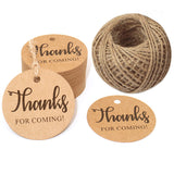 Original Design Thanks for Coming Tags 100 PCS Round Tags,Kraft Paper Gift Tags with 100 Feet Natural Jute Twine Perfect for Baby Shower,Wedding Party Favor - G2plus