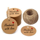 "100 PCS Kraft Gift Tags 5 cm * 5 cm""Hand Made with Love"" Label Birthday Luggage Round Tags Paper Wedding Labels Brown Hang Tag with 30 Meters Jute Twine (Brown) - G2plus"