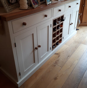 6' wide Sideboard with Contrast Top and Central Wine Rack - Painted with Farrow & Ball®