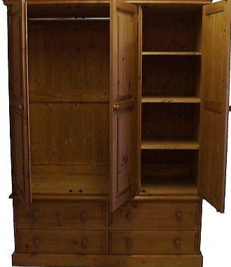 3 Door Triple Wardrobe with Drawers