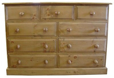 Solid Pine Merchant Style Chest of 9 Drawers - UK MADE
