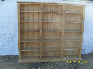 Pine Home Office, Study Triple Bookcase 8' (2.4 m) Wide