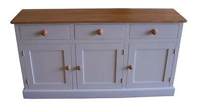 4' Sideboard Farrow & Ball 'Elephants Breath' Painted Reclaimed Timber Top