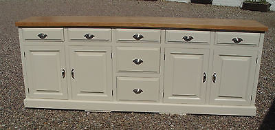 8' wide Painted Solid Wood Sideboard with Contrasting Top