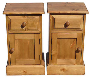 Solid Pine 1 Door 1 Drawer Bedside Pot Cupboard - UK MADE
