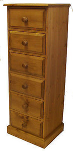Solid Pine 6 Drawer Wellington / Narrow Chest of Drawers