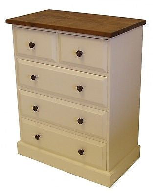 Solid Pine 2 Over 3 Chest of Drawers & contrasting top
