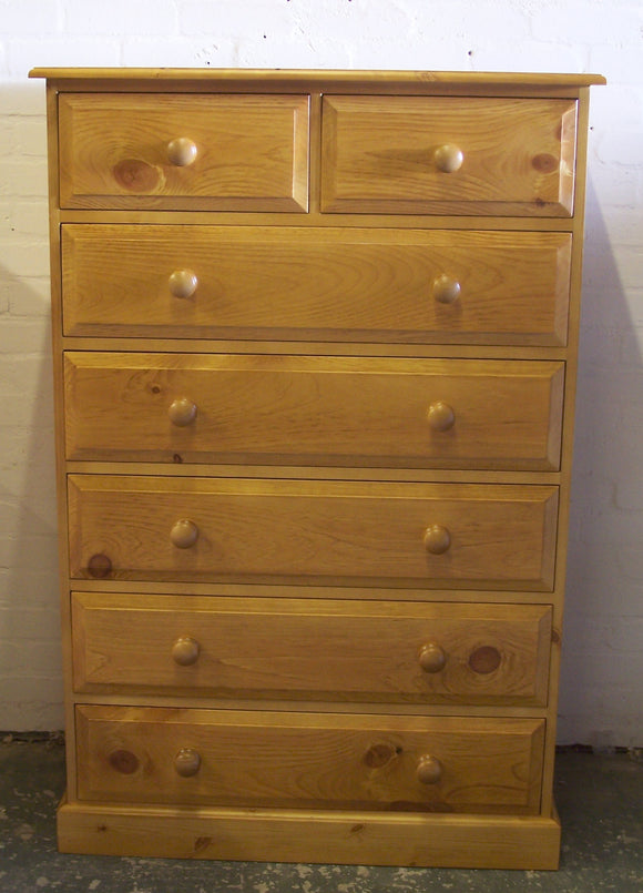 Solid Pine 2 over 5 Chest of Drawers - Narrow 30