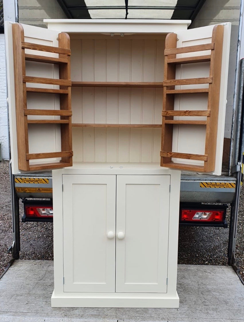 Larder Pantry Kitchen Utility Cupboard With Spice Racks 40 Cm Deep 2 Cheshire Pine And Oak