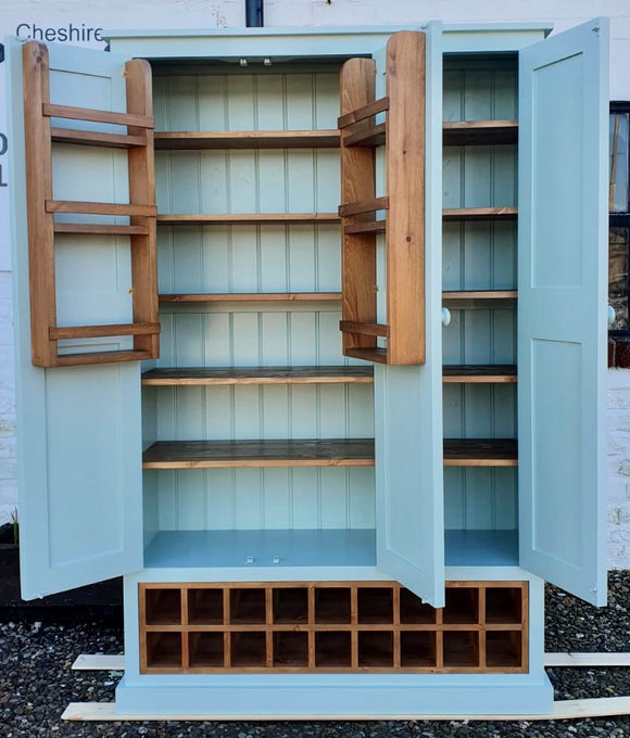 3 Door Kitchen Larder Pantry with 18 Bottle Wine Rack and Spice Racks (40 cm deep)