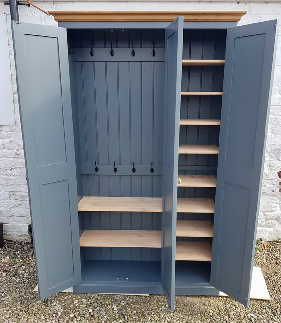 3 Door Traditional Hall Cloak Room Coat & Shoe Cupboard