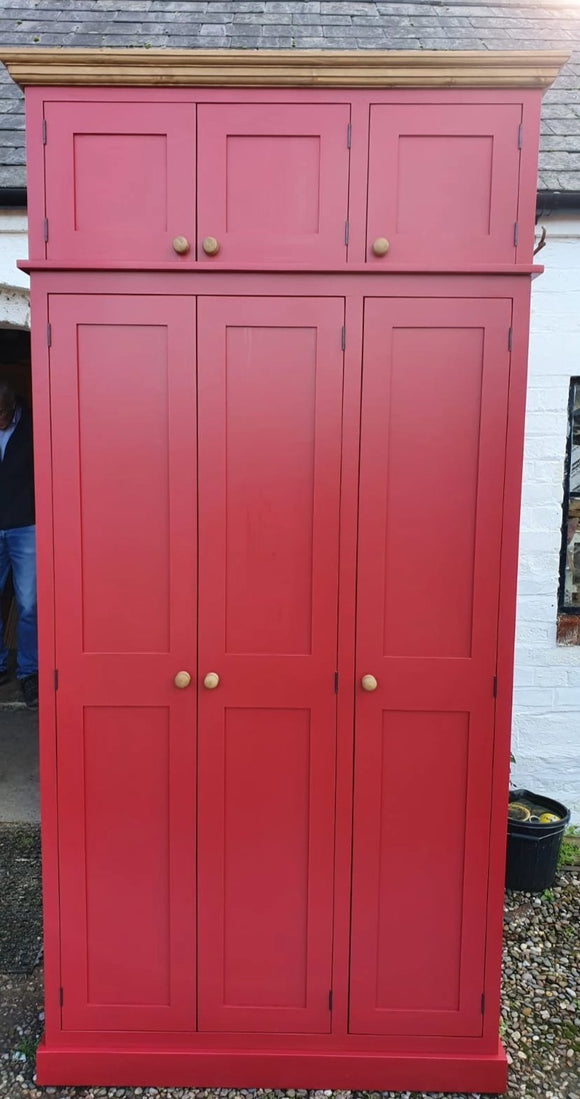 3 Door Traditional Hall Cloak Room Coat & Shoe Cupboard with EXTRA STORAGE TOP BOX