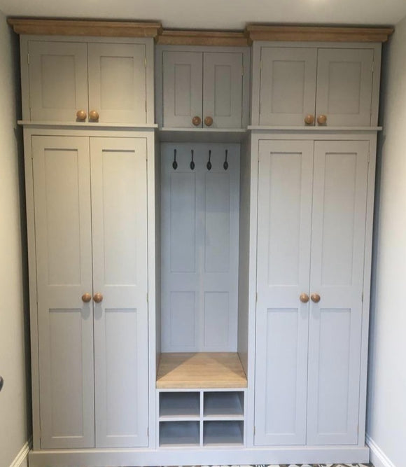 4 Door COMBINATION Hall, Utility/Cloak Room Cupboard with Coat Rack, Shoe Bench and 6 Door EXTRA STORAGE TOP BOX - 2.1 m wide