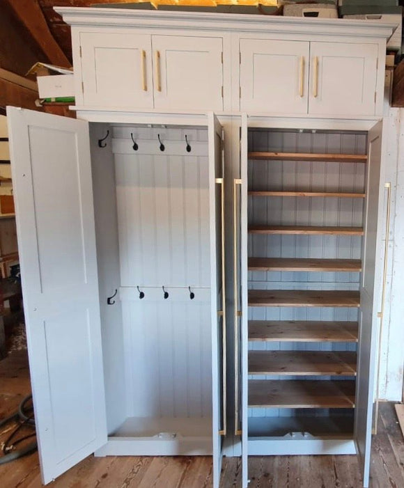 4 Door Hall Coat & Shoe Storage Cupboard with Extra Top Storage (35 cm deep)