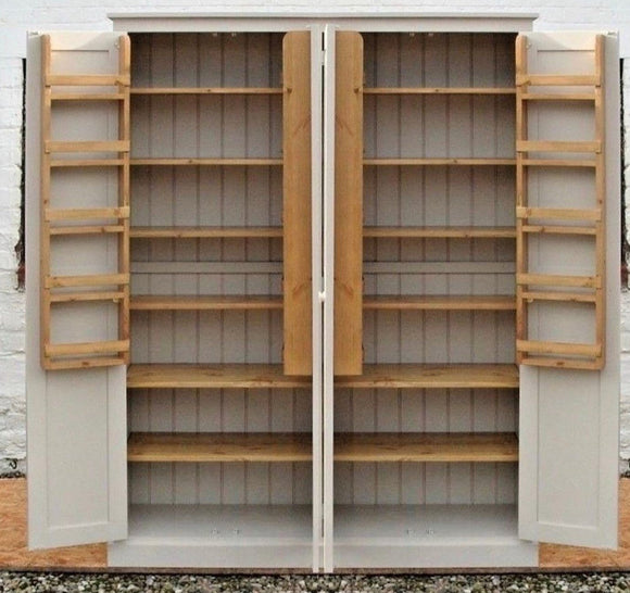 4 Door Larder, Utility Room, Kitchen Storage Cupboard with Spice Racks - 40 cm deep