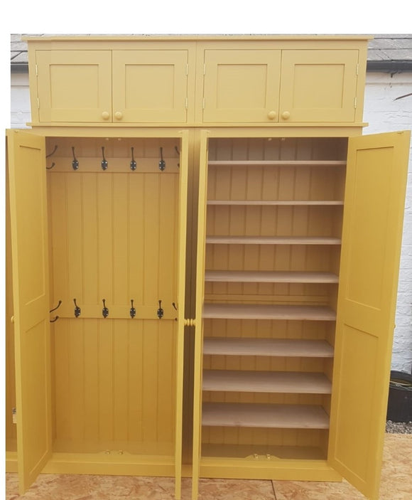 Contemporary Shaker Style 4 Door Hall Coat & Shoe Storage Cupboard with Extra Top Storage (35 cm deep) Various colour choices