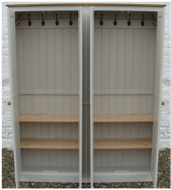 4 Door Hall Coat & Shoe or Toys Storage Cupboard with Hooks and Shelves - OPTION 2
