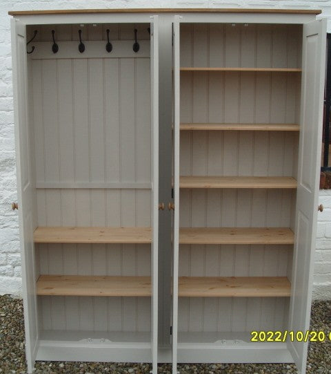 4 Door Hall Coat & Shoe or Toys Storage Cupboard with Hooks and Shelves (40 cm deep) OPTION 1