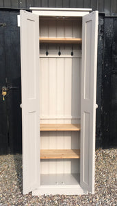 NEW 2 door Hallway, Utility, Cloak Room Storage Cupboard with Coat Hooks and 3 Shelves (35 cm deep) ALL SIZE VARIATIONS