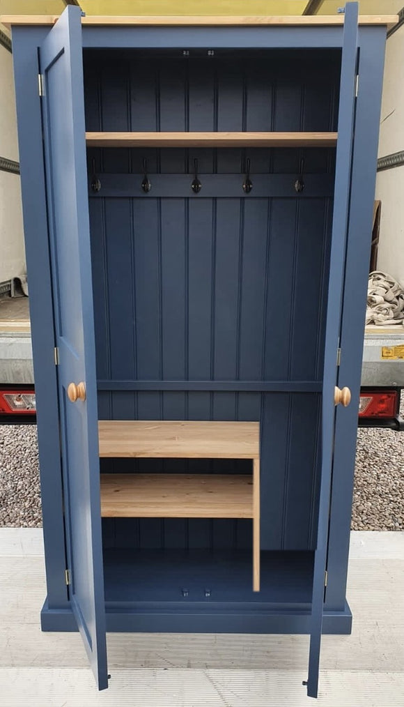 NEW 2 door Hallway, Utility, Cloak Room Storage Cupboard with Coat Hooks and 3 Shelves (35 cm deep) ALL SIZE VARIATIONS - Option 2