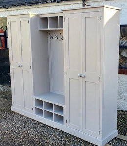 4 Door COMBINATION Hall, Utility Room/Ironing board, Cloak Room Storage Cupboard with Shoe Bench and Coat Rack - 2.4 m wide