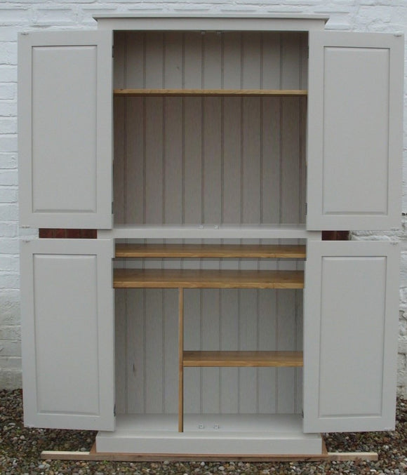 Computer Hideaway Cupboard - 2 Door over 2 Door Storage - 45 cm deep