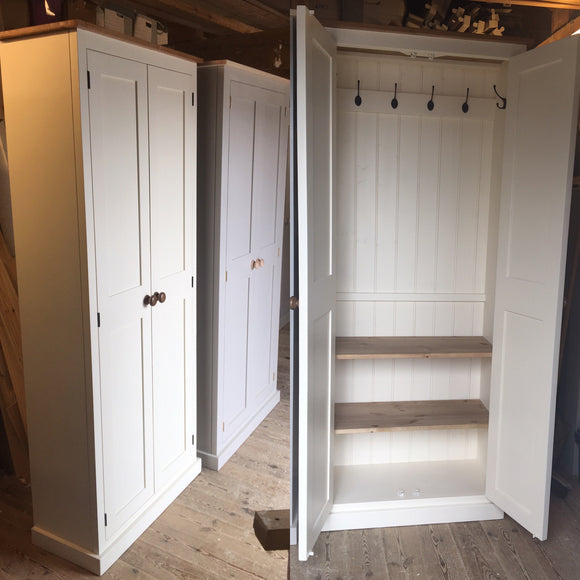 2 door Hallway, Utility, Cloak Room Storage Cupboard with Hooks and Shelves - 35 cm deep - ALL SIZE VARIATIONS