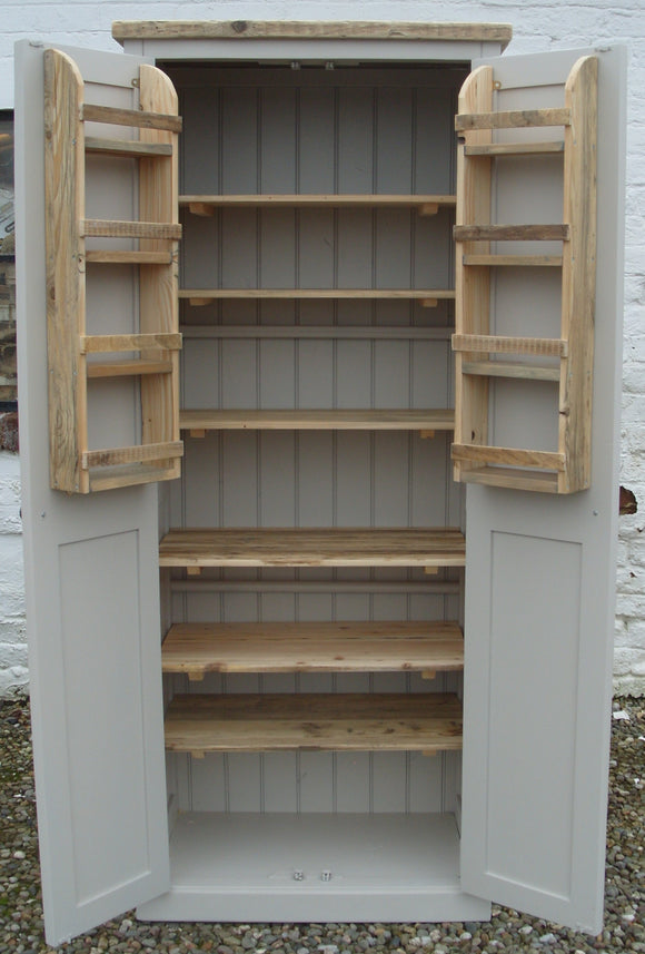 BESPOKE - Rustic Reclaimed Timber Kitchen Larder Pantry Cupboard & Spice Racks - Painted with Farrow & Ball® Elephants Breath