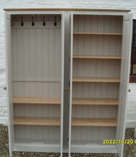 4 Door Hall Coat & Shoe or Toys Storage Cupboard with Hooks and Shelves (35 cm deep) OPTION 1