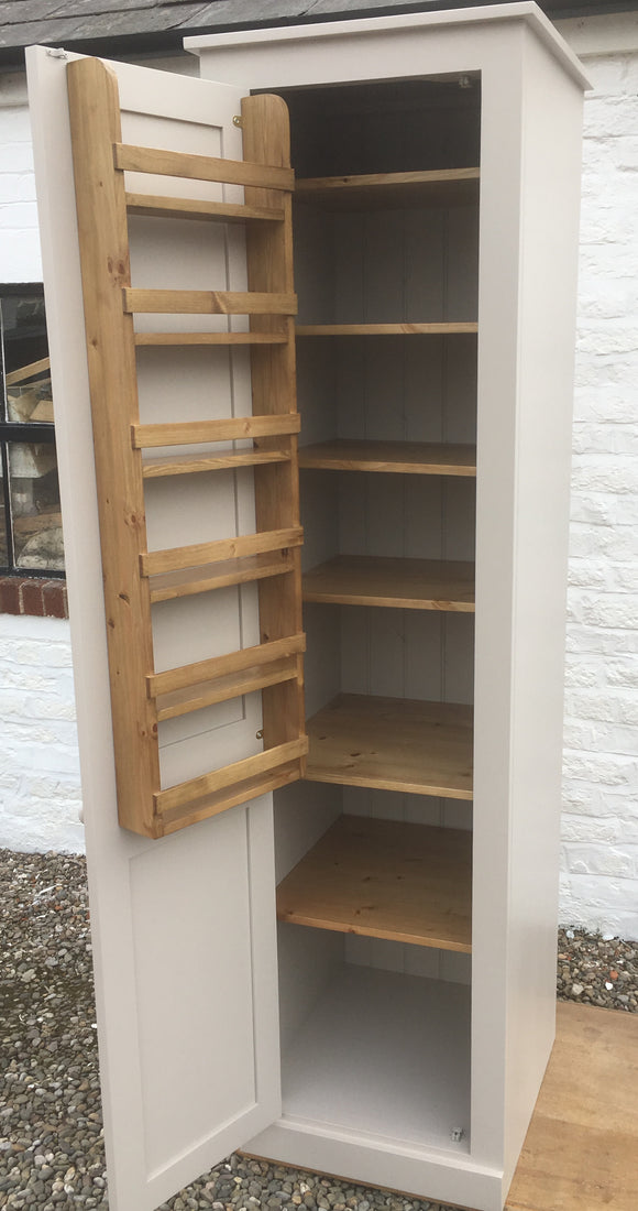 Kitchen Unit Larder Pantry Cupboard with Spice Rack - Full Length Door - Narrow